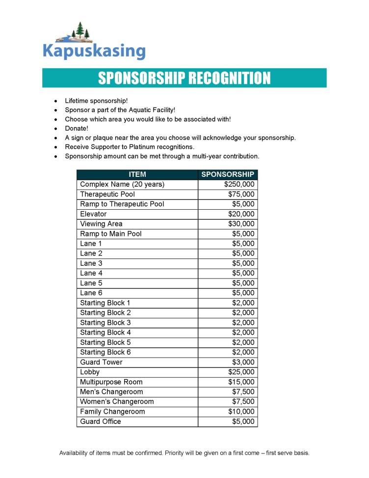 Pool sponsorship recognition